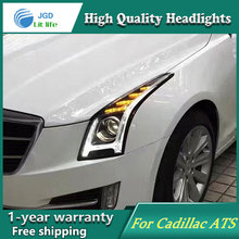high quality Car Styling for Cadillac ATS Headlights LED Headlight DRL Lens Double Beam HID Xenon Car Accessories