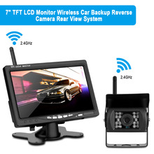 "7"" TFT LCD Wide Screen Car Rear View System Backup Color HD Monitor + Built-in 2.4GHz Wireless Night Vision Reversing Camera Kit"