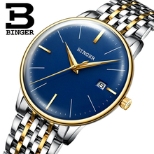 Genuine Luxury BINGER Brand Men full steel automatic mechanical male self-wind luminous waterproof cruve surface ultrathin watch(China)