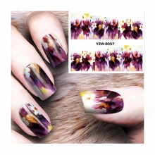 ZKO 1 Sheet Water Decal Nail Water Transfer Gothic Blooming Flower Nail Sticker Stamping For Nail Art Stamp 8057