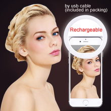 rechargeable usb LED Selfie Phone Ring Light Up Luminous For iPhone 7 6 6S Plus 5 5s Samsung For Xiaomi Huawei Sony Oneplus