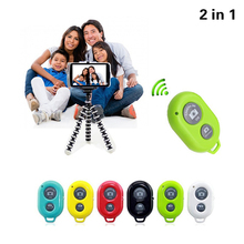 2in1 Tripod Clip Car Camera Mobile Phone Holder Stand Monopod with Bluetooth Shutter Button For iPhone 5s 6 6s 7 Plus Cell Phone(China)