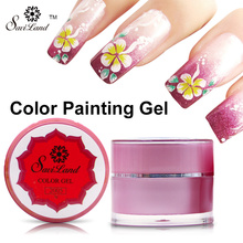 Saviland 1Pcs 12 Different Colors 3D Nail Art Paint Color Gel Draw Painting Acrylic Color UV Gel Tip DIY Nail Art
