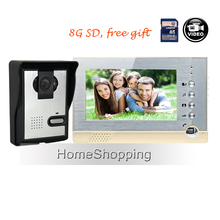 "FREE SHIPPING BRAND NEW 7"" Color Recording Screen Video Door phone System + Night Vision Door Intercom Camera + 8G SD WHOLESALE"