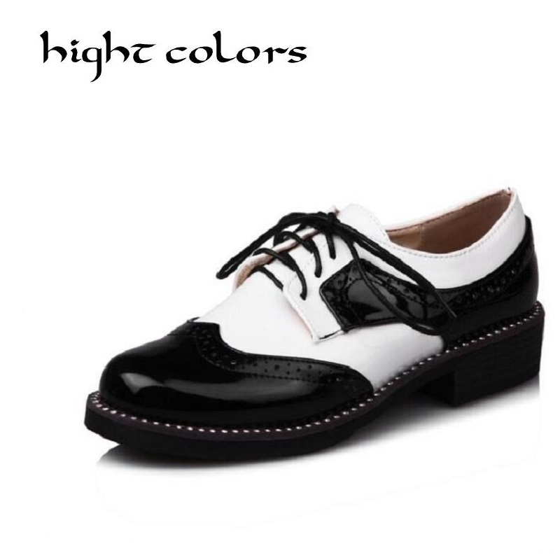 Color Block Decoration British Style Platform Oxford Shoes For Women Creepers Casual Flats Vintage Women Brogue Shoes Size 32-43<br>