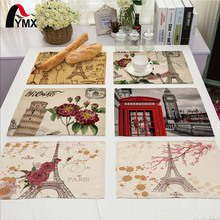 42X32CM Table Napkins Mix 22 Style Beautiful Rose Eiffel Tower Images Dinner Table Napkins Tea Coffee Towel Table Decor(China)