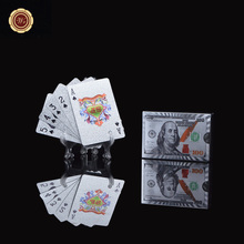 Wr Customized USA 100 Dollar Printed Playing Cards Quality Silver Foil Game Poker for Value Collection