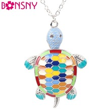 Bonsny Maxi Alloy Fine Enamel Tortoise Necklace Chain Pendant 2016 News Fashion Jewelry For Women Statement Charm Collar Animal(China)