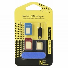 5in1 Nano Micro Standard Sim Card Adapter Kit Converter For iPhone 7 Plus huawei p9 lite P8 y5 ii nova Mobile Phone Accessories(China)