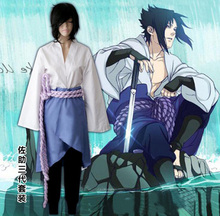 Naruto Shippuuden Uchiha Sasuke Cosplay Costume Sasuke 3rd Generation Uniform Full Set ( Top + Pants + Skirt + Rope + Armguard )
