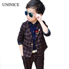 Children Clothing Set England Kid Clothes Gentleman Boy Party/Wedding Suits Baby Boy Formal Plaid Long-sleeved Cotton Sets 2-7Y