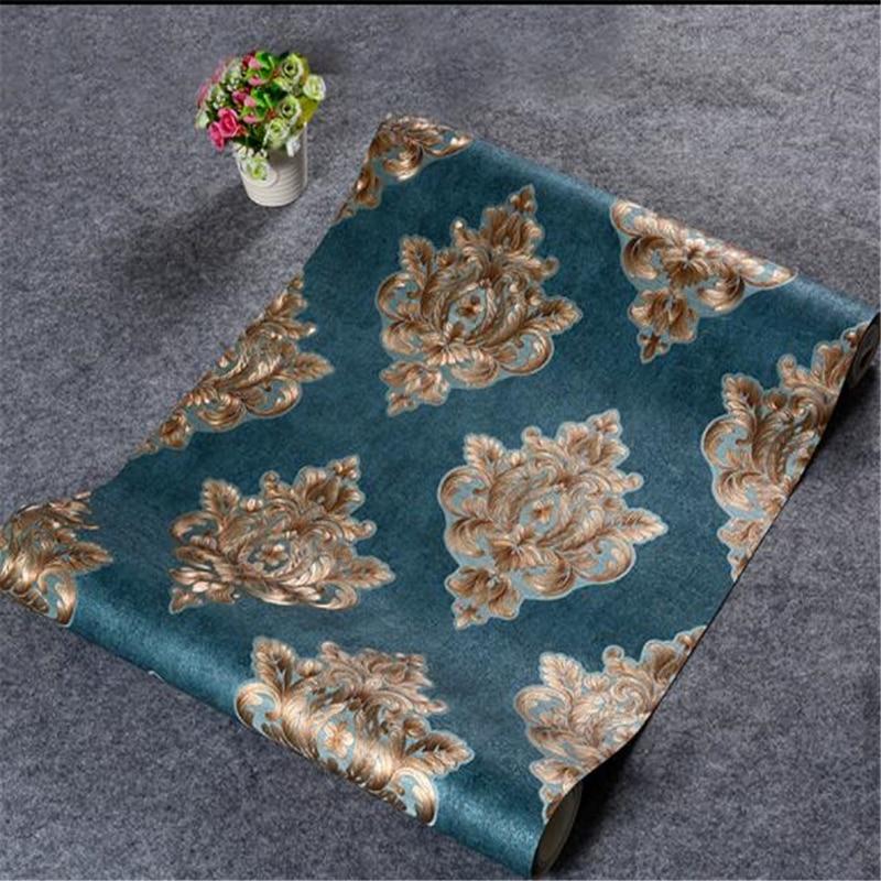beibehang Retro European mottled damascene wall paper AB version 3D living room bedroom TV backdrop vertical stripes wallpaper<br>