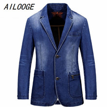 AILOOGE Spring Mens Brand Clothing Denim Blazers Jacket Plus Size M~3XL Blue Jean Coat Slim Fit Casual Overcoat CLOTHES Cotton