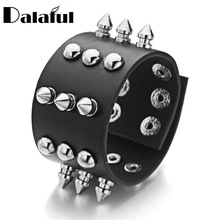 Unisex Metal Cone Stud Spikes Rivet PU Leather Biker Wristband Wide Cuff  Punk Rock Bracelets Bangles For Women Men S354