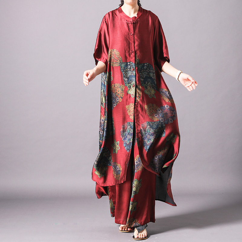 Summer new arrival vintage print silk women top + wide leg pants middle and old people casual fashion personality tide two sets