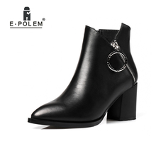 Genuine Leather Punk Ankle Boots Metal Ring Zipper Puller Martin Boots Women High Heel Chelsea Boots Teenage Girl Boots Shoes(China)