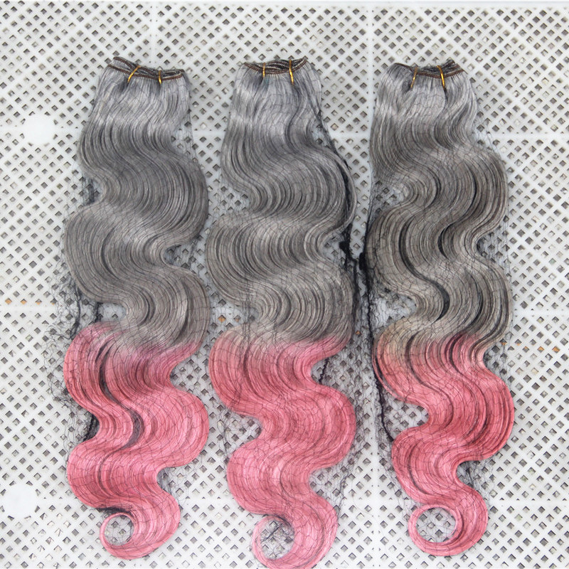 7A Mongolian Grey/ Pink Ombre Hair Weave Body Wave 3pcs/lot Free Shipping Factory Outlet 100% Best Quality Human Hair Bundles<br><br>Aliexpress