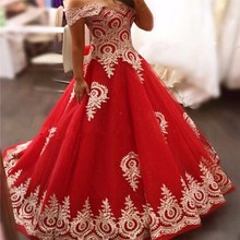 Buy 2017 Red Gold Long Muslim Wedding Dresses Shoulder Gold Lace Appliques Tulle Ball Gown Princess Arabic Wedding Gowns for $229.08 in AliExpress store