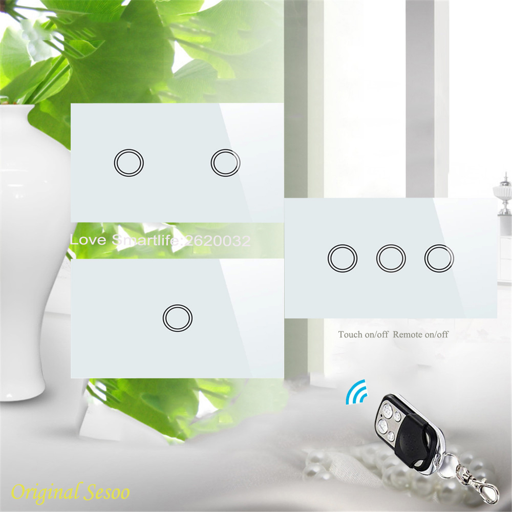 2017 New SESOO US Remote Control Switch 1 Gang 2 Gang 3 Gang,RF433 Smart Wall Switch,Wireless Remote Control Touch Light Switch<br><br>Aliexpress
