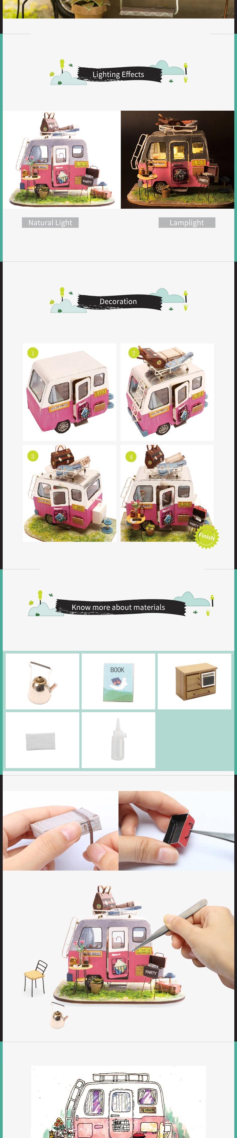 Robotime DIY Happy Children Adult Miniature Wooden Doll House