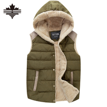 Mens Hooded Vests Autumn Thick Warm Men's Vests Fashion Solid Male Vests Multicolor Sleeveless Jacket Man Winter Vests