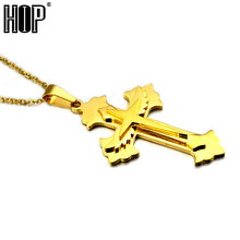 HIP Gold Color Titanium Stainless Steel 3 Layer Angle Wing Cross Pendant Necklaces for Men's Jewelry