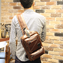 New Design Body Messenger Cross Bag Bicycle Men Crazy horse PU leather Shoulder Backpack Sling Chest Casual Retro Brown Pack(China)