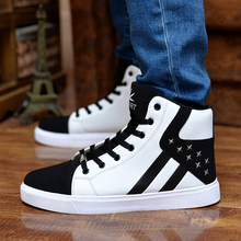 Men shoes 2017 new Spring Summer fashion men casual shoes lace-up brand shoes mixed color high top flat with male shoes(China)