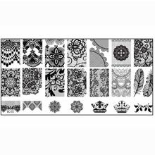 1 pcs Nail Art Stamping Plates Big Image Pattern Transfer Print Template Nail Stencil Stamps DIY Tools kits Konad Hot sales
