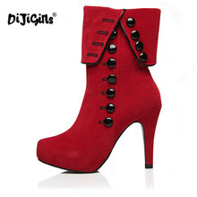 DIJIGIRLS Women Ankle Boots High Heels 2016 Fashion Red Shoes Woman Platform Flock Buckle Winter Boots Ladies Shoes(China)