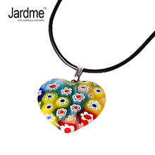 Jardme Handmade Italian Murano Glass Heart Pendant Necklace Leather Chains Flower Colored Glaze Bead Necklaces Jewelry(China)