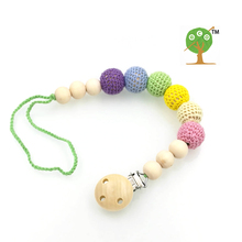 5 designs to choose Rainbow Gradient Baby Pacifier Clip Dummy Holder cotton Chain Natural wooden beads Crochet beads NT137(China)