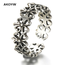New Male and female General silver Colour ring opening four-leaf clover jewelry simple and popular factory outlets