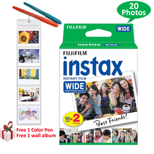100% Genuine Fujifilm Instax Wide Film 20 Sheets  White Frame For Fuji Instant Polaroid Photo Camera 300 200 210 100 + Free Gift