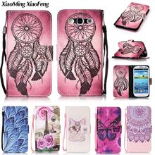 For Samsung Galaxy S3 Neo Case Leather Wallet & Silicone Flip Case Samsung Galaxy S3 Cover Painted Feather Phone Case I9300 SIII(China)