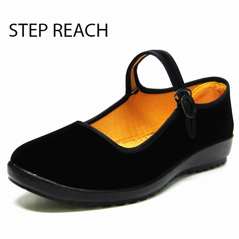 STEPREACH Woman Mary Jane shoes flat Black canvas comfortable spring autumn suede Buckle Strap women Round Toe Solid Casual Sh(China)