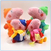 2017 Brinquedos 4pcs/set Winter Pig Family Toys & Hobbies Washable Scarf Cute Toddler Stuffed Animals & Plush(China)