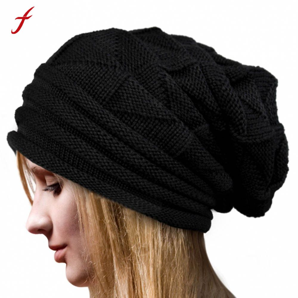 Feitong Women Winter Warm Hats Knit Turban Twist Hair Wrap Solid Casual Skullies & Beanies Hat Cap Knit Turban(China)