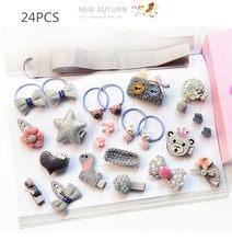 12-24pcs/lot Children girls hair Accessories Headwear gift Ribbon hair Bow Rabbit Hair clip hair ties Princess Crown barrette(China)