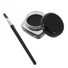 Professional Waterproof Gel Eye Liner Shadow Cream Cosmetics Eyeliner + Brush Black Set Eyes Makeup Eyeliner