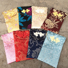 Wholesale Chinese style button suzhou silk Mobile phone bag Jewelry bag Zero wallet children Oblique cross package 4pc/lot