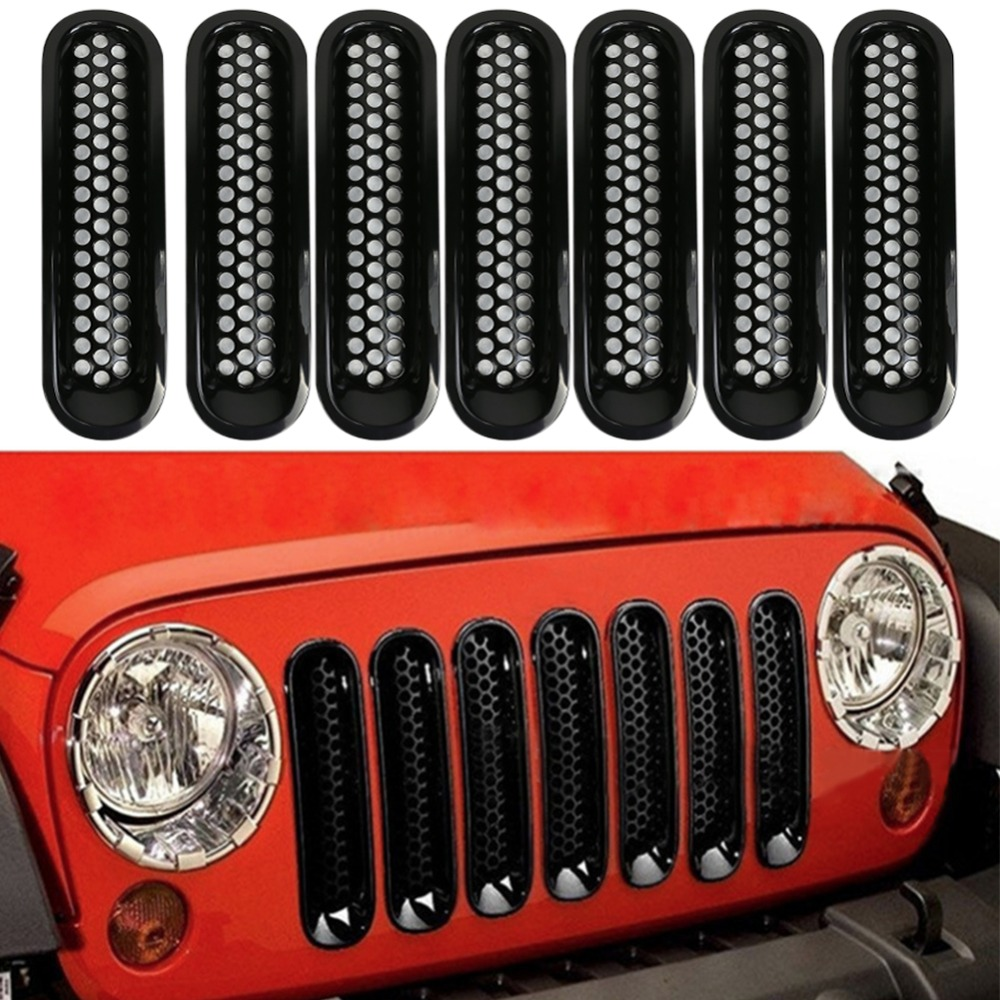 7PCS Black ABS Mesh Front Insert Grille Trim Cover Without Lock Hole For Jeep Wrangler JK 2007-2015<br>