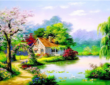 diamond painting round rubik cubes diamond puzzle embroidery kits lake house landscape scenic square full drill rhinestones DIY