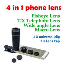 Hot 4in1 12X Zoom Telescopic Optical Lens Macro Wide angle Lens Fish Eye Lens with clip for Samsung Camera Tablet All Smartphone
