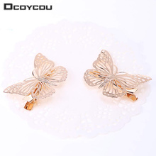8PCS Golden Butterfly Hair Clips Hair Apparel Accessories Barrettes Decor Wedding Jewelry Side Hairpins Headpiece Headwear
