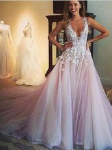 Gorgeous Dirty Pink Wedding Dresses 2017 for Brides Sexy V Neckline Tulle Wedding Gowns with White Flowers vestidos de noiva