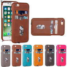 "Fashion Brand Back Cover for iphone 6 6S 4.7""Luxury PU Leather Phone Brown Case With Card Slot Holder for iphone 7 Case Fundas"