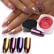 2017 New Nail Decorations Product Long Lasting Gold Purple Red Rose Color Pigment Shimmer Metallic Mirror Powder Nail Glitter