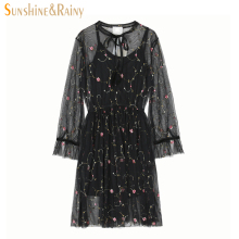 Buy new summer women floral Luxury embroidery dress girls sweet mesh lace bow collar hollow Palace retro flare sleeve dress for $16.84 in AliExpress store