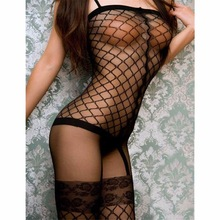 Ben Xi 2017 New Brand Women Sexy Lingerie Hot Erotic Intimates Sleepwear Costume Lenceria Fishnet Black Plaid Sex Products